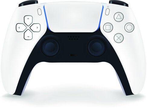 Turkey - June 11, 2020. Presentation of a new product from Sony, wireless white PlayStation 5 gamepad on white background, game console, tactile feedback, adaptive release buttons and 3D sound