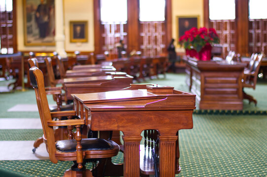 A beautiful wood desk of the Texas State Capitol