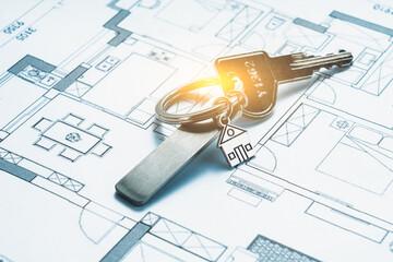 House keys on a house plan blueprint