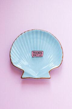 Light blue ceramic shell on pink background, still life flat lay, friends don't lie, ceramic plate