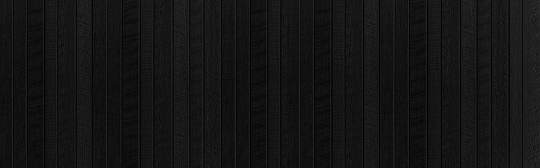 Panorama of Black wood texture background. Abstract dark wood texture on black wall. Aged wood...