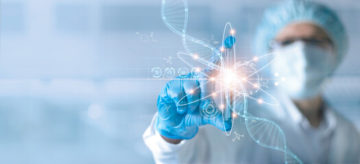 Science and medical, Scientists or Health care researcher holding test tube and analyzing data DNA gene transfer and gene therapy disease treatment and prevention in  scientific chemical laboratory.