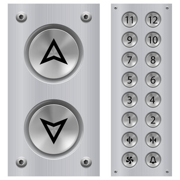 Elevator Buttons Panel and Call Buttons for Building Up and Down Each Floor with Arrow Symbol Displayed on Polished Stainless Steel. Isolated Illustration on White Background