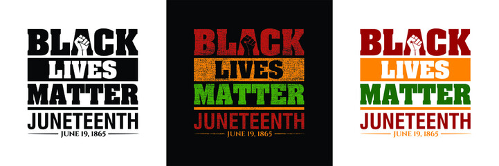 Black Lives Matter. Juneteenth June 19, 1865. Resistance hand and Olive Leaves icon. Design of Banner. Vector logo set Illustration.
