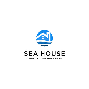 Modern house sea sign for Real Estate , Property and Construction Logo design