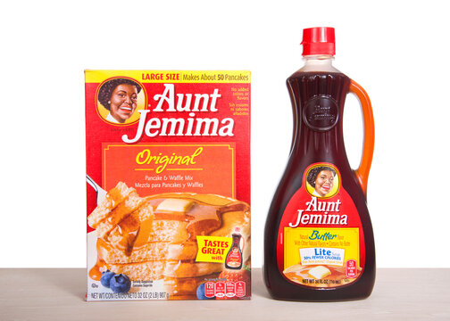 Alameda, CA - June 18, 2020: Aunt Jemima pancake mix next to a bottle of light syrup. The pancake mix debuted in 1889, the first ready mix, and became one of the most recognized names in US history.