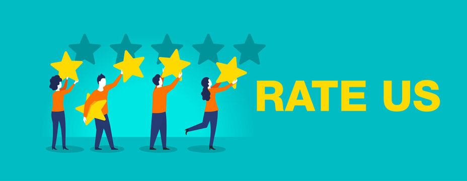Rate us banner -  Small people leave 5 stars positive feedback - creative isolated illustration
