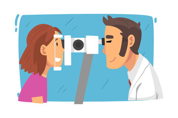 Deurstickers Wanddecoratie met eigen foto Male Ophthalmologist Doctor Examining Patient Eyesight with Professional Equipment, Ophthalmology Diagnostics, Vision Correction Cartoon Vector Illustration