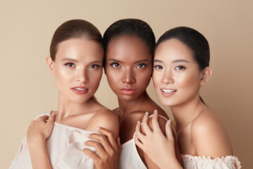 Beauty. Portrait Of Diversity Models. Mixed Race, Asian And Caucasian Girls Hugs Each Other And...