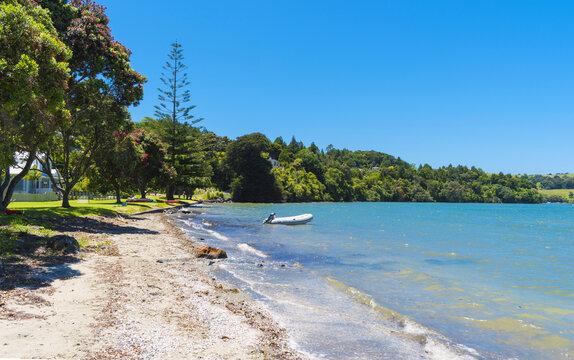 Panoramic View of Baddeleys Beach Matakana, Tawharanui Peninsula, Auckland New Zealand