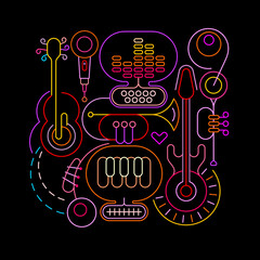 Neon colors isolated on a black background Abstract Musical Art vector illustration. Design of colored silhouettes of different musical instruments and equipment.