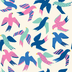 Colorful Flying birds abstract papercut style seamless vector pattern. Repeating background without Scandinavian birds in teal, blue, pink. Cute animal kids pattern.