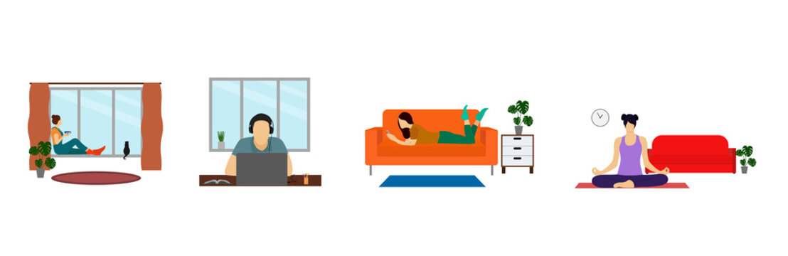 The concept of stay home. A man works as a freelancer, looks out the window, relaxes on the couch, does yoga. People at home in quarantine. Illustration in a flat style.