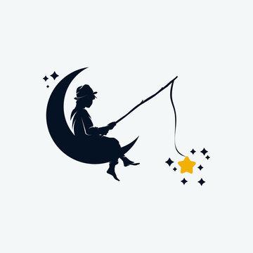Kid fishing in the moon logo design template