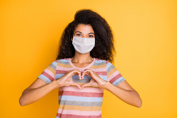 Deurstickers Wanddecoratie met eigen foto Close-up portrait of her she nice healthy wavy-haired girl wearing safety mask showing heart shape influenza grippe contamination isolated bright vivid shine vibrant yellow color background