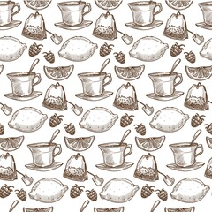 Herbal tea with lemon and raspberry, seamless pattern