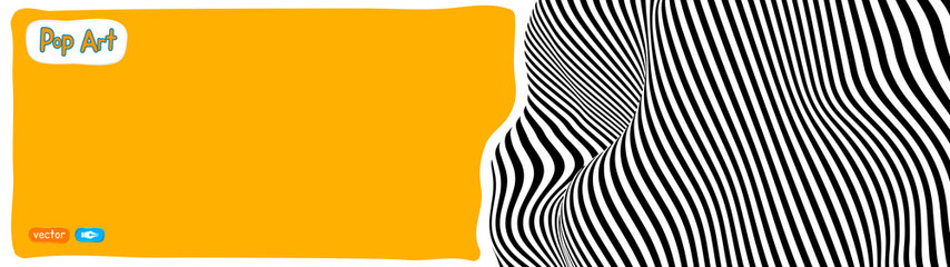 Op art vector illustration, yellow orange background, pop art illustration.