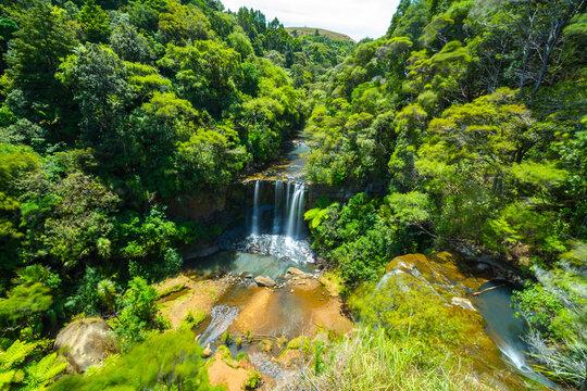 Panoramic View of Mokoroa Waterfalls, Auckland New Zealand