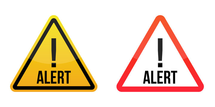 alert signs Warning signs labels. Yellow and red. Isolated on white background. EPS10
