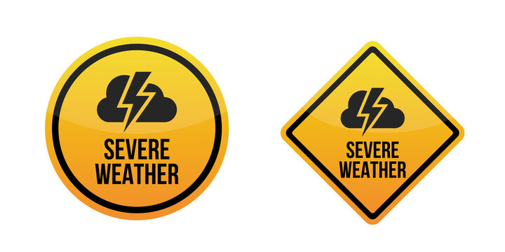 Severe weather alert. Warning signs labels. Yellow Isolated on white background. EPS10