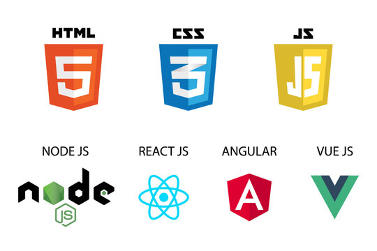 vector collection of web development shield signs: html5, css3, javascript, react js, angular, vue js and node js.