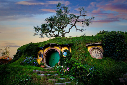 """MATAMATA- NEW ZEALAND -APRIL -19- 2019 :Hobbiton in a  little Hobbit town, Matamata New Zealand and movie set created for filming the Lord of the Rings and """"Hobbit"""" movies - Matamata, New Zealand"""