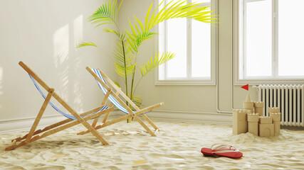Urlaubsstimmung in Quarantäne mit Strand im Wohnzimmer