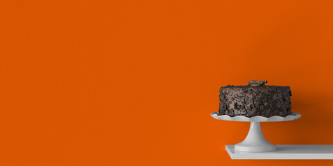 Süße leckere Schokoladentorte als Hintergrund Header