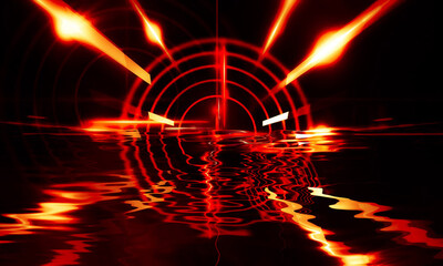 Fotomurales - Night scene with reflection of neon light in the water. Liquid, puddles, flooding. Rays and lines in neon. Modern abstraction, night view. 3D illustration