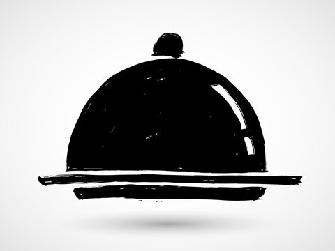 Grunge cloche icon. Service Dinner Plate Doodle Pictogram. Restaurant tray hand-drawn illustration.