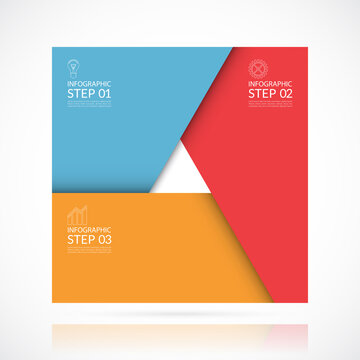 Vector square infographic template in material style