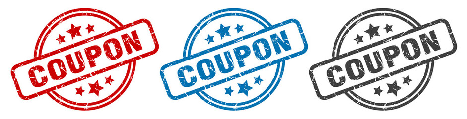 coupon stamp. coupon round isolated sign. coupon label set