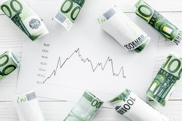 Stock market chart with euro banknote top view