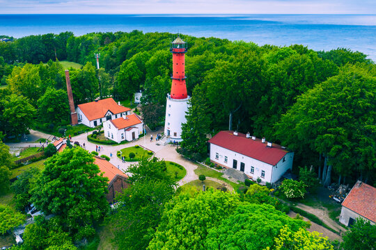 Aerial view of lighthouse in the small village of Rozewie on the Polish seashore of the Baltic Sea. Poland. Europe.