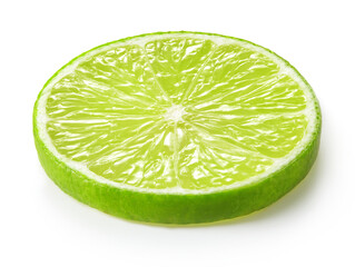 Wall Mural - slice of lime isolated on white background