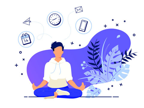 Vector illustration concept of businessman practicing meditation in office. The man sits in the lotus position, the thought process, the inception and the search for ideas. Practicing Yoga in work