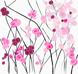 abstract background, illustration with abstract roses or rosebush