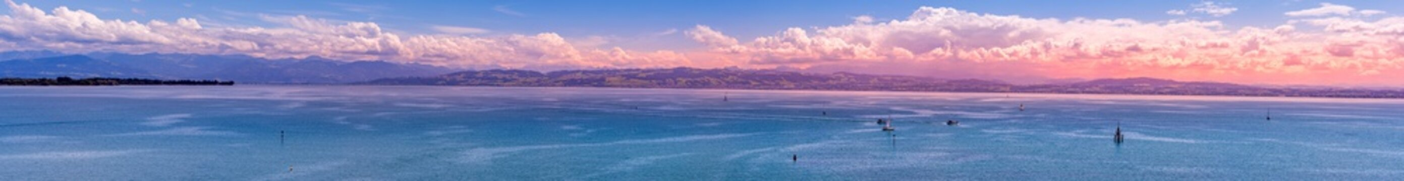 Lake Constance panorama with a view of the Swiss Alps