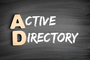 AD - Active Directory acronym, technology concept on blackboard