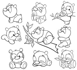 Stores à enrouleur Chambre bébé Vector Illustration of a Cute Cartoon Character Panda for you Design and Computer Game. Coloring Book Outline Set