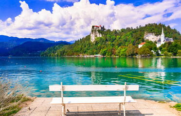 Beauty in nature. Lake scenery - wonderful Bled in Slowenia, popular tourist attraction