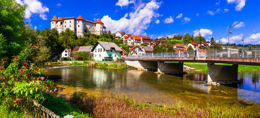 Beautiful romantic medieval castles of Europe - Zuzemberk in Slovenia in Krka river