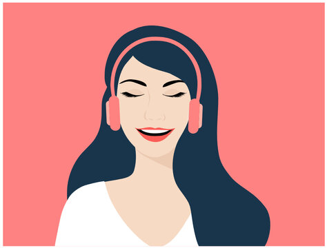 Beautiful woman listening to music on headphones vector illustration. Music and entertainment concept