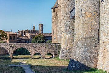 Fototapete - View of the medieval old town of Carcassonne in France