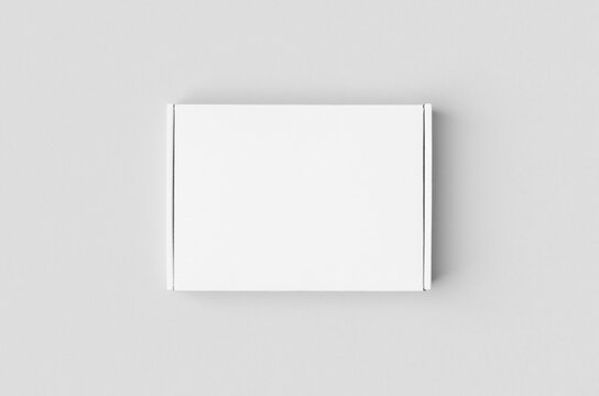 White cardboard postal, mailing box mockup.