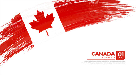 Flag of Canada country. Happy canada day background with grunge brush flag illustration