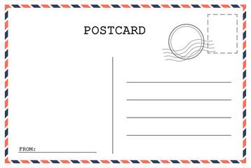 Postcard template. Post envelope with stamp. Vector illustration. EPS 10,