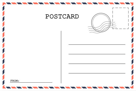Postcard template. Post envelope with stamp. Vector illustration. EPS 10,