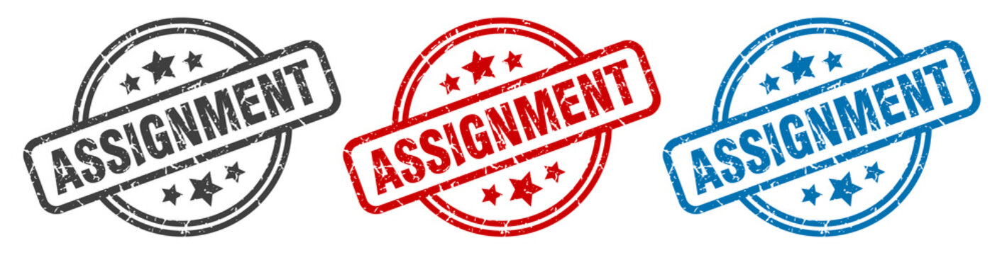 assignment stamp. assignment round isolated sign. assignment label set