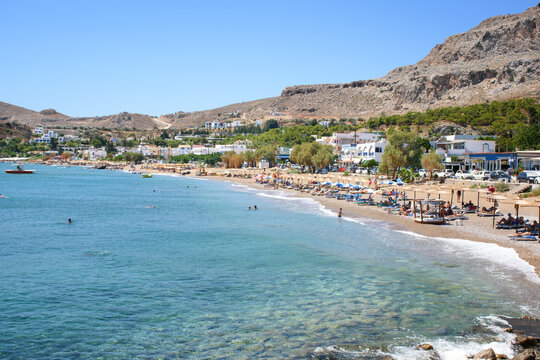 View of Stegna beach close to Town of Archangelos (RHODES, GREECE)